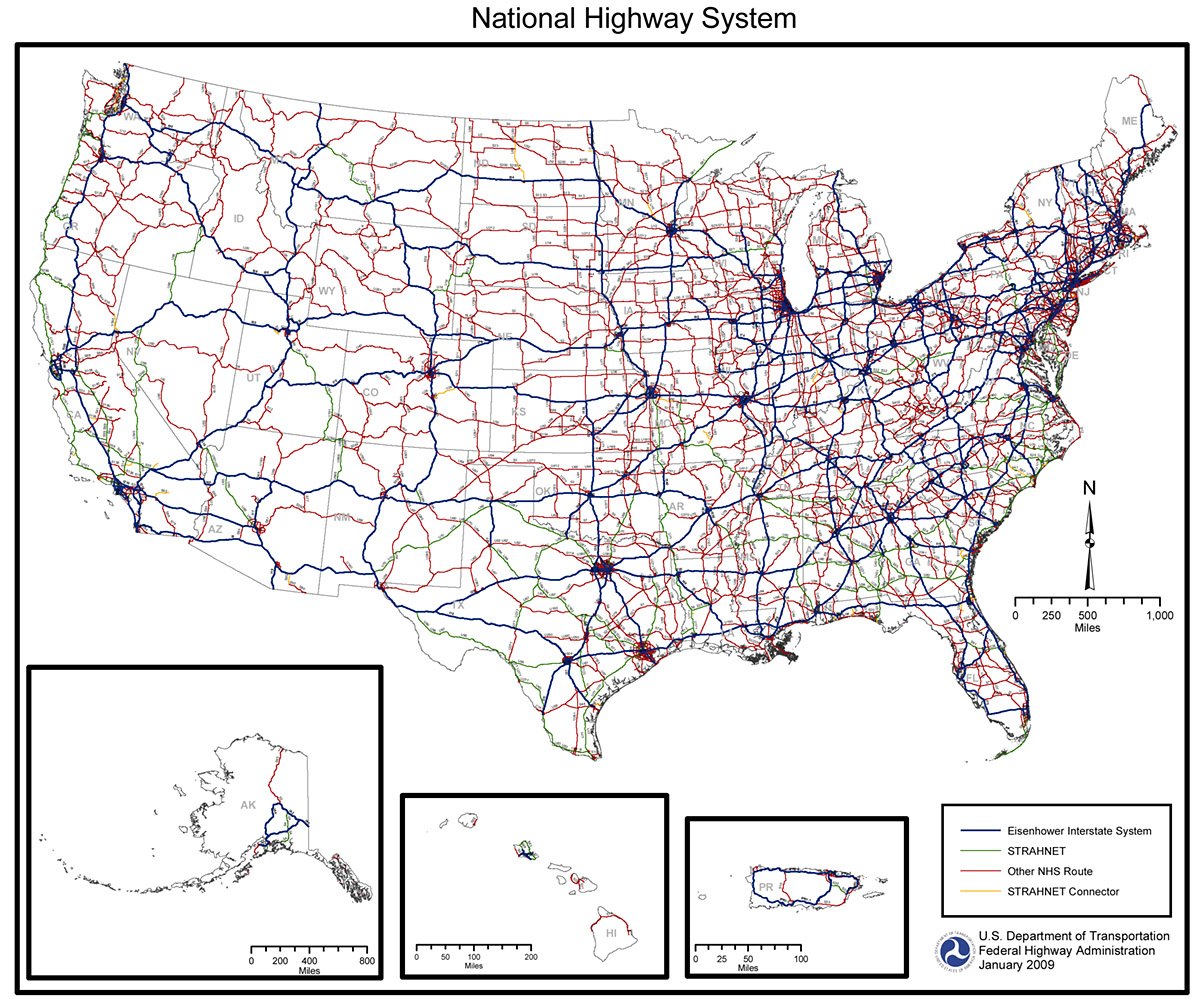 Interstate Map Continental United States State Stock Illustration - Us map with interstate highway system